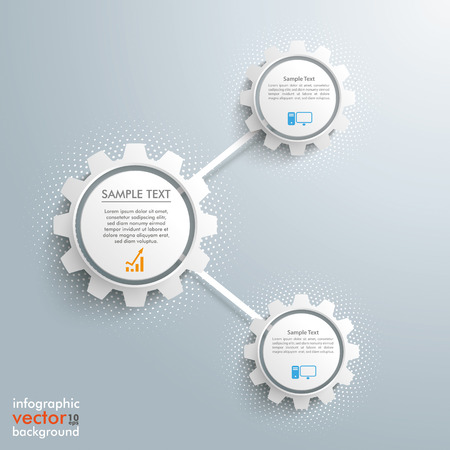 three wheel: Infographic design with network gears on the gray background. Eps 10 vector file.