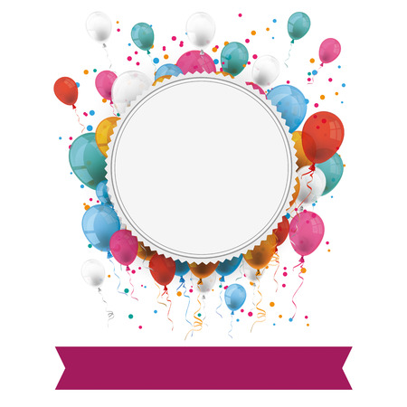 fest: White paper emblem with colored balloons, purple banner and confetti on the white. Eps 10 vector file.