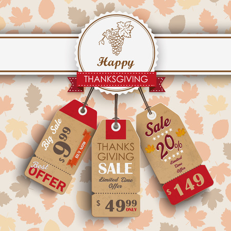 onlineshop: 3 price stickers with thanksgiving emblem and autumn foliage. Eps 10 vector file.