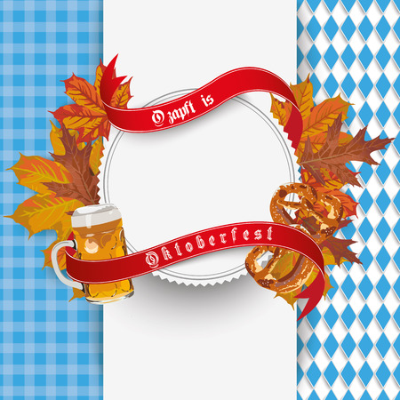 age 10: German text O´zapft is and Oktoberfest, translate on tap and Oktoberfest. Eps 10 vector file.