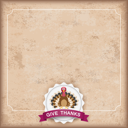 thanks: Vintage background with emblem, turkey and text Give Thanks. Eps 10 vector file.