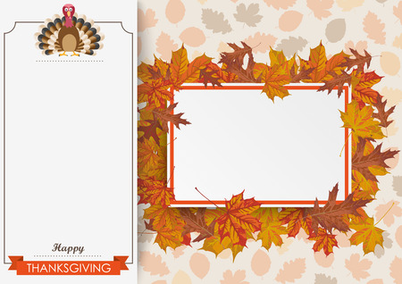 oblong: Oblong banner with ribbon, turkey, paperboard and foliage. Eps 10 vector file.