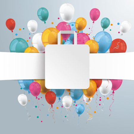 shopping people: White paper banner, shopping bag and colored balloons.  Eps 10 vector file. Illustration