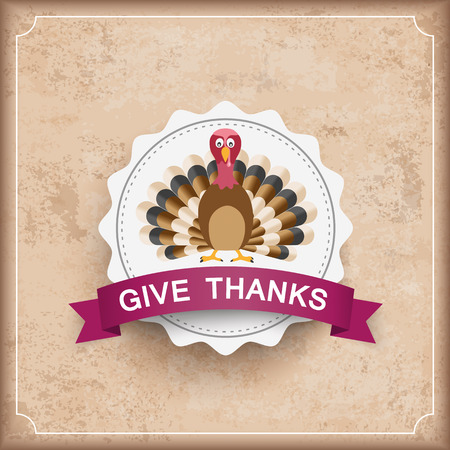 acer: Vintage background with emblem, turkey and text Give Thanks. Eps 10 vector file.