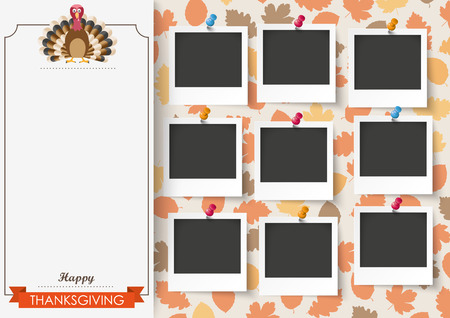 thanksgiving turkey: Oblong banner with 9 pics, ribbon, turkey and foliage. Eps 10 vector file.