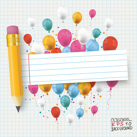 eps 10: Checked school paper with colored balloons, pencil and striped banner. Eps 10 vector file. Illustration