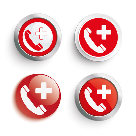 emergency call: 4 emergency call icons. Eps 10 vector file.