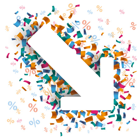party down: White paper arrow with colored confetti and percents on the white. Eps 10 vector file.