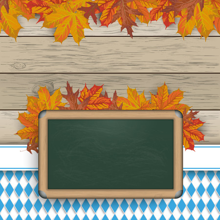 national colors: Blackboard with foliage and with bavarian national colors. Eps 10 vector file. Illustration