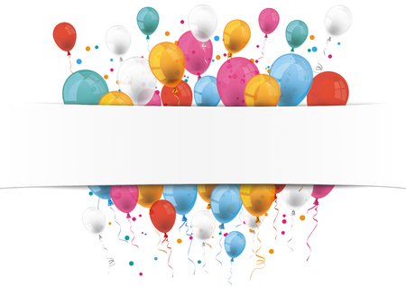 Checked paper banner and colored balloons.  Eps 10 vector file.