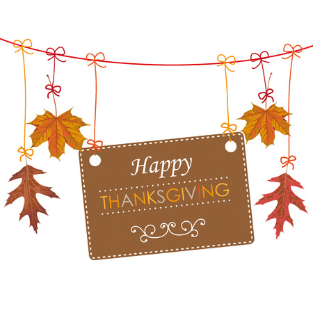 Foliage with text Happy Thanksgiving on the white background. Eps 10 vector file.