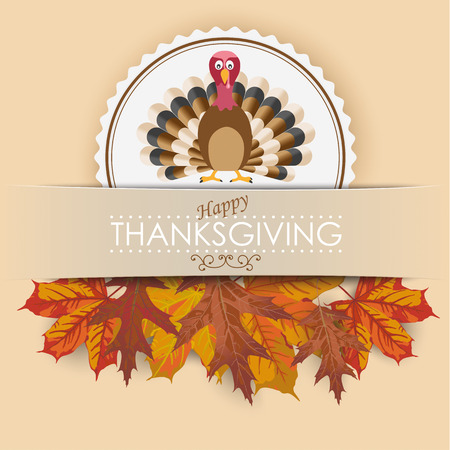 Thanksgiving cover design with turkey, banner and foliage. Eps 10 vector file.
