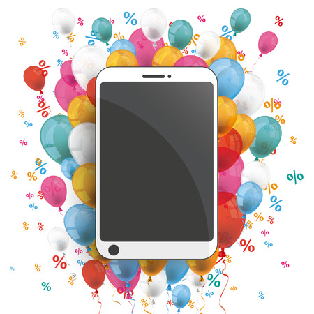onlineshop: Smartphone with colored balloons and percents on the white. Illustration