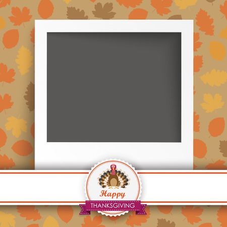 acer: Foliage in autumn colors with instant photo, thanksgiving emblem and turkey on white background. Eps 10 vector file.