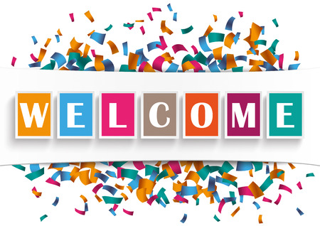 Text Welcome with confetti and banner on the white. Eps 10 vector file. Illustration