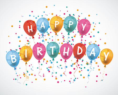 """Ballonnen met de tekst """"Gelukkige Verjaardag"""". Eps 10 vector-bestand."""