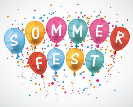 "Duitse tekst ""Sommerfest"" vertalen ""Summer fair"". Eps 10 vector-bestand."