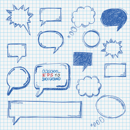 crunches: Handdrawn speech bubbles set on the checked paper. Eps 10 vector file.