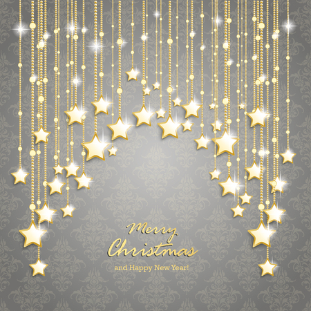 green and gold: Christmas stars on the gray background with ornaments. Eps 10 vector file. Illustration