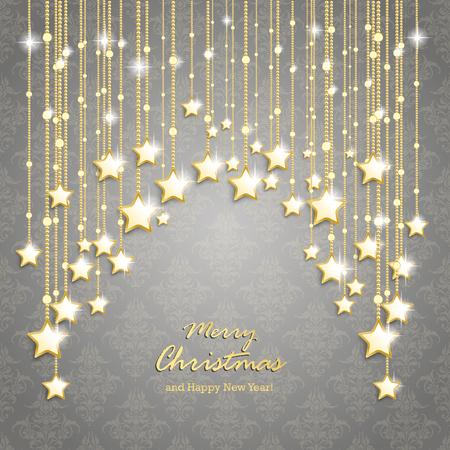 Kerst sterren op de grijze achtergrond met ornamenten. Eps 10 vector bestand.