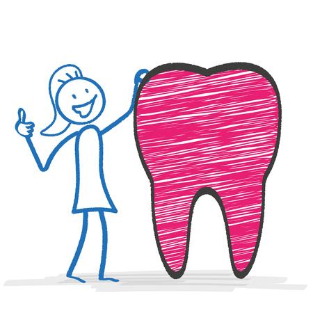 bonhomme allumette: stickman Femme avec la dent rose. Eps 10 fichier vectoriel.