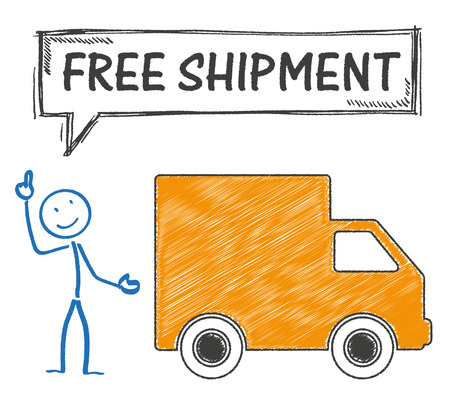 eps 10: Stickman with shipment car and text Free Shipment. Eps 10 vector file. Illustration