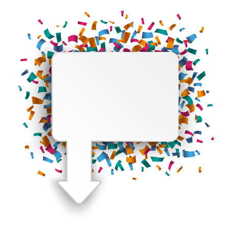 offering: Rectangle pointer with confetti on the white. Eps 10 vector file. Illustration