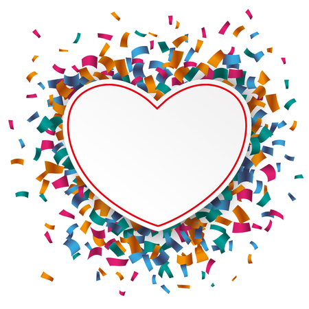 chit: White paper heart rectangle with colored confetti on the white. Eps 10 vector file.