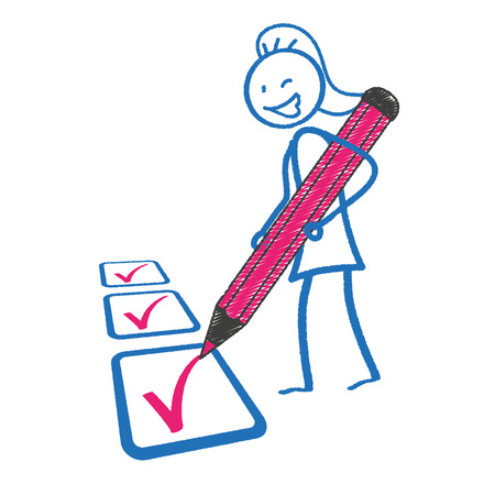 disposition: Female stickman with pen and checklist. Eps 10 vector file.