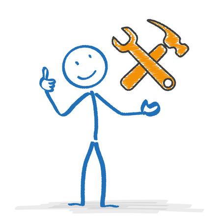 bonhomme allumette: Stickman avec des outils symboles. EPS 10 fichier vectoriel. Illustration