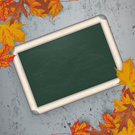 acer: Autumn background with blackboard, foliage and concrete. Eps 10 vector file.