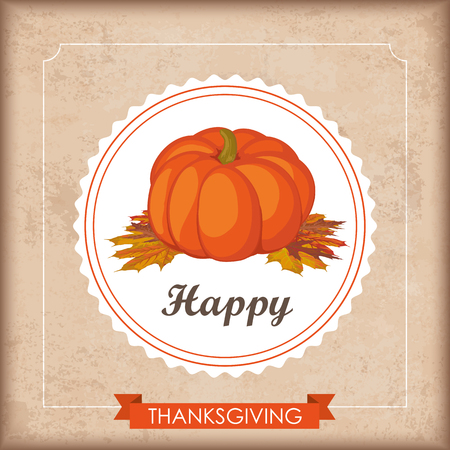 cucurbit: Vintage background with emblem, pumpkin, foliage, ribbon and text Happy Thanksgiving. Eps 10 vector file. Illustration