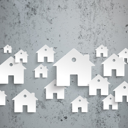 letting: Infographic with white houses on the concrete background. Eps 10 vector file.