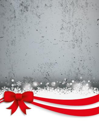 Hormigón: Tarjeta de Navidad con cinta roja, nieve, estrellas y muro de hormigón. EPS 10 del vector.