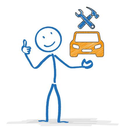 bonhomme allumette: Stickman avec des symboles de voiture et des outils. EPS 10 fichier vectoriel.