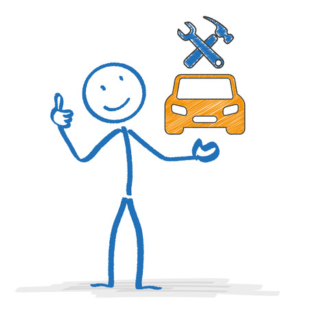 repair: Stickman with car and tools symbols. Eps 10 vector file.