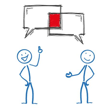 bonhomme allumette: 2 stickman avec des bulles de la parole. Eps 10 fichier vectoriel. Illustration