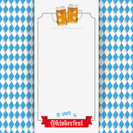 Oktoberfest design on the white background. German text O´zapft is and Oktoberfest, translate on tap and Oktoberfest. Eps 10 vector file.