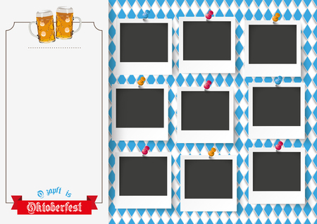 vintage photo frame: German text O´zapft is and Oktoberfest, translate on tap and Oktoberfest. Eps 10 vector file.