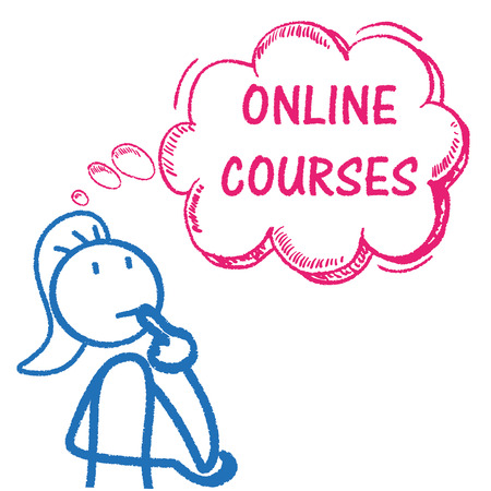 choise: Stickwoman, pink thought bubble and text online courses. Eps 10 vector file.
