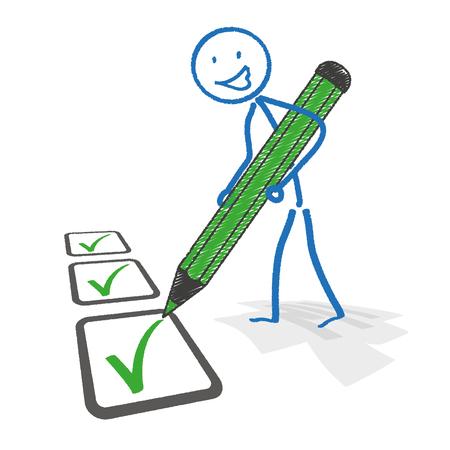 auditoría: Stickman con lápiz y lista de comprobación. Eps 10 archivos de vectores. Vectores