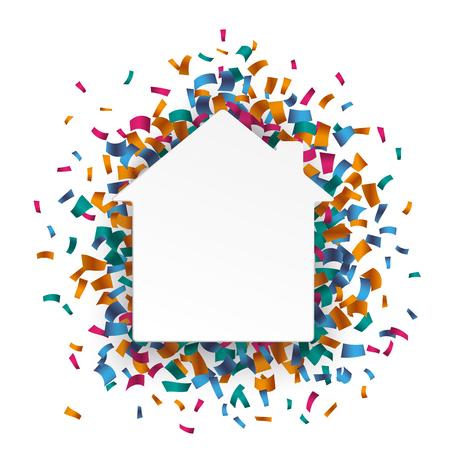anniversaire: paperhouse blanc avec des confettis de couleur sur le blanc. Eps 10 fichier vectoriel.