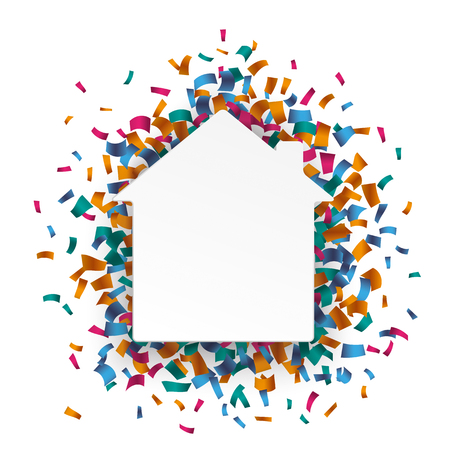 anniversary sale: White paperhouse with colored confetti on the white. Eps 10 vector file. Illustration