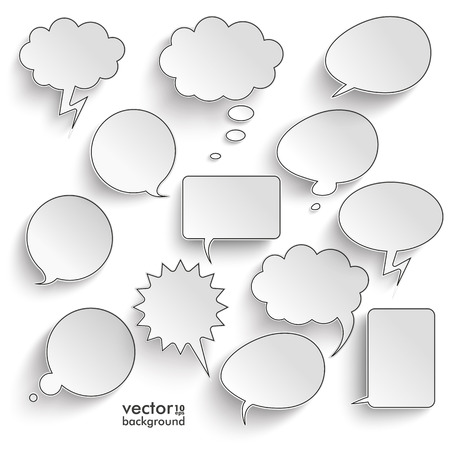 Speech bubbles with shadwos set on the gray background. Eps 10 vector file. Çizim