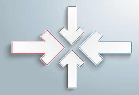 compatibility: 4 paper arrows on the gray backround. Eps 10 vector file. Illustration