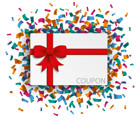 chit: Coupon with red ribbon and confetti on the white. Eps 10 vector file.
