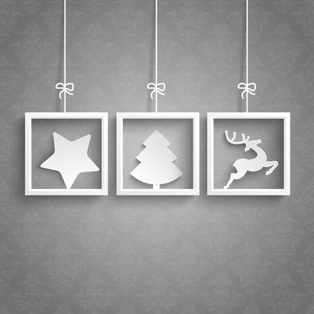 star shapes: White frames on the gray background. Eps 10 vector file. Illustration