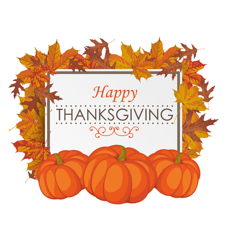cucurbit: Thanksgiving design with foliage, board and pumpkins. Eps 10 vector file.