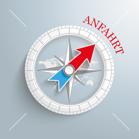 delusion: White compass with red text Journey on the gray background.  Eps 10 vector file.