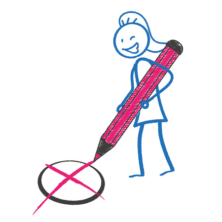 female pink: Female stickman with a pink pen. Eps 10 vector file. Illustration